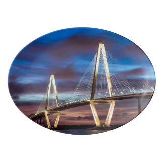 Arthur Ravenel Bridge At Night Porcelain Serving Platter