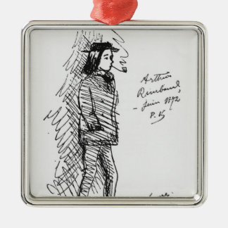 Arthur Rimbaud  June 1872 Silver-Colored Square Ornament