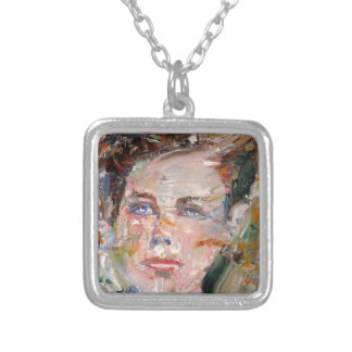 ARTHUR RIMBAUD - oil portrait Silver Plated Necklace