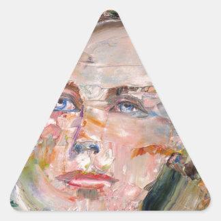 ARTHUR RIMBAUD - oil portrait Triangle Sticker