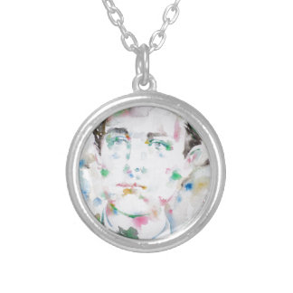 ARTHUR RIMBAUD - watercolor portrait.1 Silver Plated Necklace