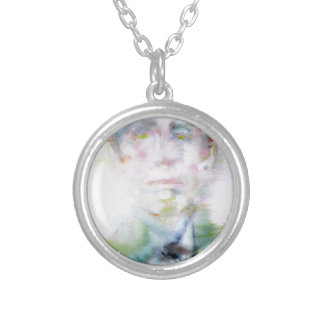 ARTHUR RIMBAUD - watercolor portrait.3 Silver Plated Necklace