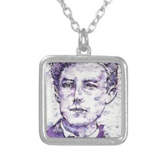ARTHUR RIMBAUD - watercolor portrait.4 Silver Plated Necklace