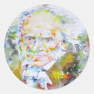 arthur schopenhauer - watercolor portrait.1 classic round sticker