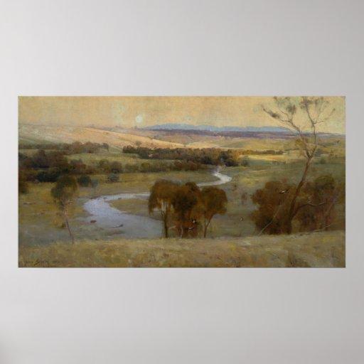 Arthur Streeton - 'Still_glides_the stream, and_sh Poster