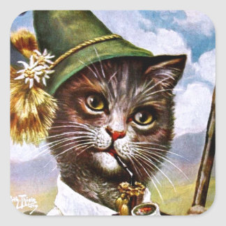 Arthur Thiele - Bavarian Alps Cat Square Sticker