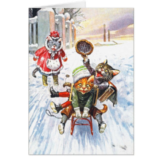 Arthur Thiele - Cats Going Downhill Snow Sledding Card