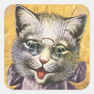 Arthur Thiele - Female Cat with Glasses Square Sticker
