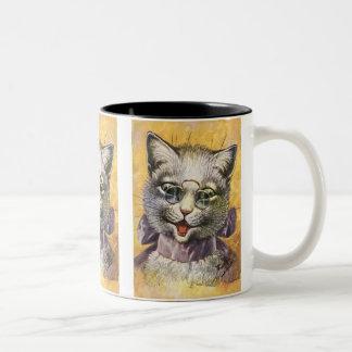 Arthur Thiele - Female Cat with Glasses Two-Tone Coffee Mug