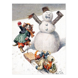 Arthur Thiele - Kittens Take a Tumble in the Snow Postcard