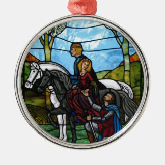 Arthurian Window Silver-Colored Round Ornament