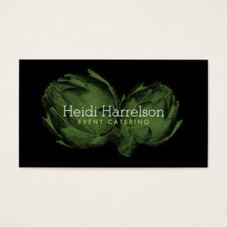 Artichoke Screen-Print Illustration Green/Black Business Card