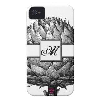 Artichoke Vegetable Black & White Drawing Monogram iPhone 4 Covers