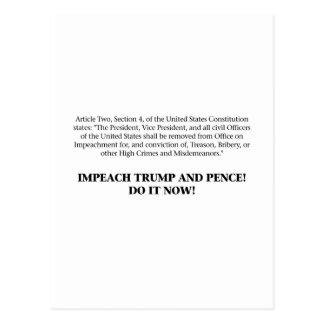 Articles of Impeachment — Impeach Trump and Pence Postcard