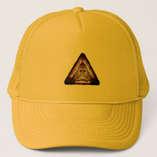 artifacts - red quad logo test v2 trucker hat
