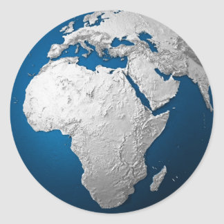 Artificial Earth - Africa. 3d Render Classic Round Sticker