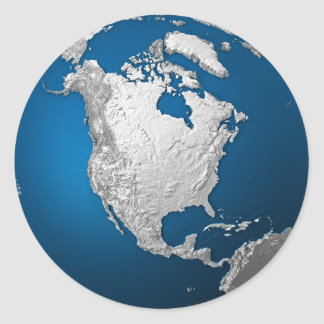 Artificial Earth - North America. 3d Render Classic Round Sticker