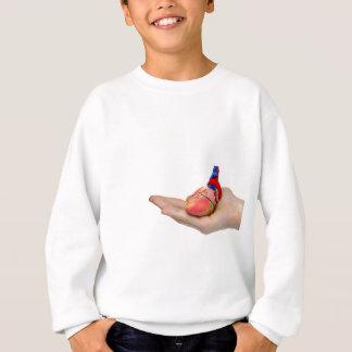 Artificial human heart model on hand sweatshirt