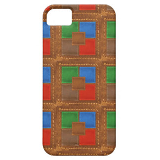 Artisan Elegant Leather Look Squares Patchwork Case For The iPhone 5