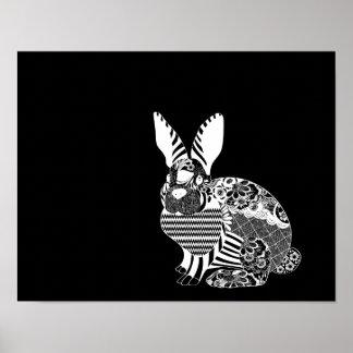 Artisan Rabbit White on Black Field Poster