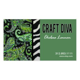 Artisanat d'artiste de diva de métier tricotant carte de visite standard