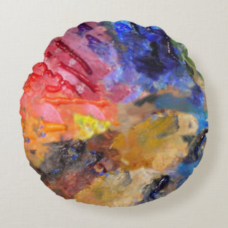 Artist Color Palette Paints Round Pillow