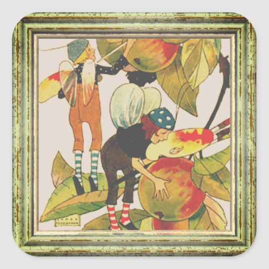 Artist Faeries Painting Fruit Square Sticker