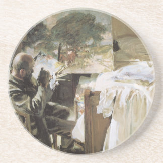 Artist in His Studio by Sargent, Vintage Victorian Drink Coaster