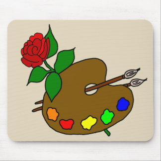 Artist Paint Palette and a Red rose Mouse Pad