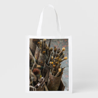 Artist Paintbrushes in Old Rusty Tin Cans Reusable Grocery Bag