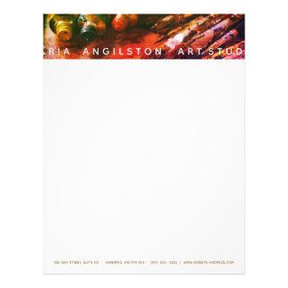 Artist paints & brushes letterhead