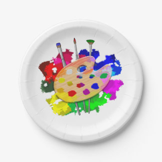 Artist Palette And Brushes Paper Plate