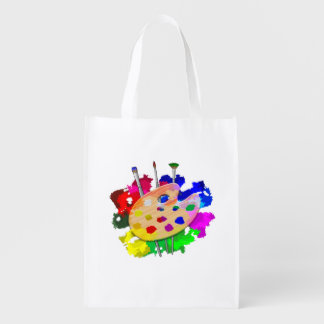 Artist Palette And Brushes Reusable Grocery Bag