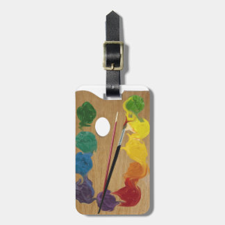 Artist palette rectangle rainbow luggage tag
