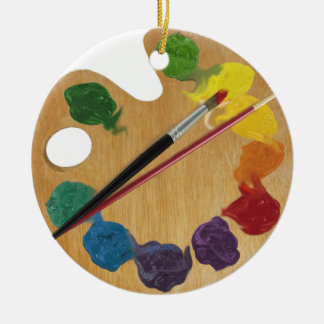 Artist`s palette colour wheel ceramic ornament