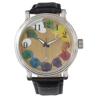 Artist`s palette rainbow wrist watches