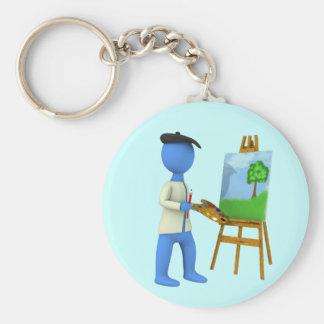 Artiste et chevalet porte-clé rond