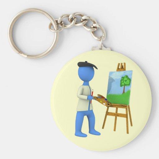 Artiste et chevalet porte-clés