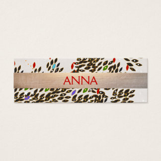 Artisti and Chic Colorful Pattern Gold Striped Mini Business Card