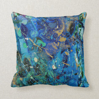 Artistic abstract blue pillow