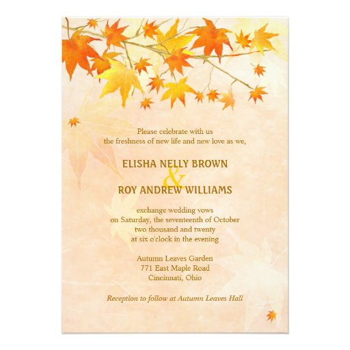 Artistic Autumn Foliage Modern Wedding Invitations