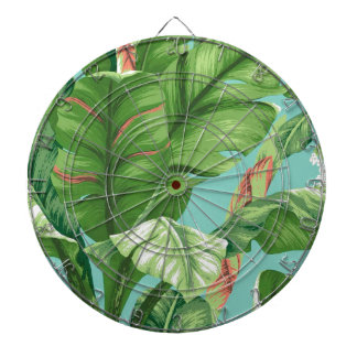 Artistic Banana Leaf & flower watercolor painting Dartboard