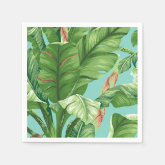 Artistic Banana Leaf & flower watercolor painting Paper Napkins