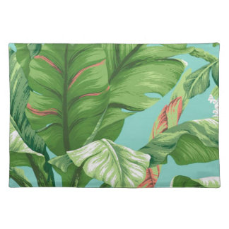 Artistic Banana Leaf & flower watercolor painting Placemat