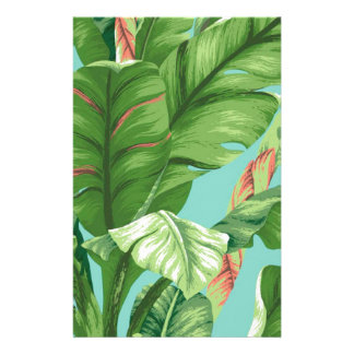 Artistic Banana Leaf & flower watercolor painting Stationery