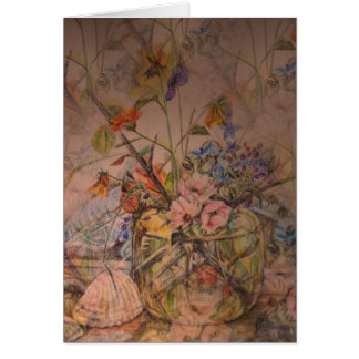 Artistic birthday card with floral still life