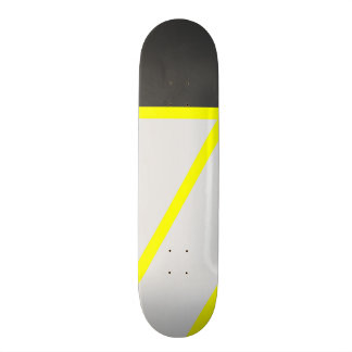 Artistic black neon yellow modern stripes skate board deck