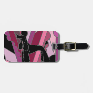 Artistic Black Poodle Dog Abstract Art Luggage Tag