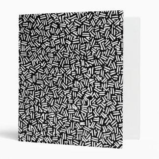 Artistic black white brushstrokes confetti pattern 3 ring binders