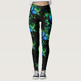 Artistic Blue Butterfly Leggings